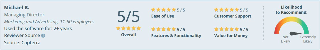 Capterra review panel desktop view