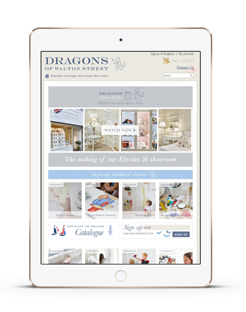 tablet showing Dragons of Walton Street ecommerce website redesign