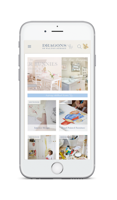 mobile showing Dragons of Walton Street ecommerce website redesign