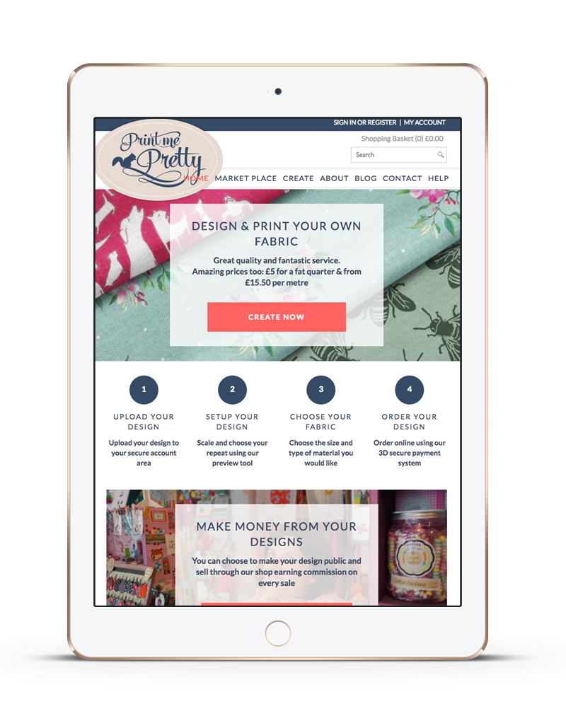 tablet showing Print Me Pretty ecommerce website with customised products