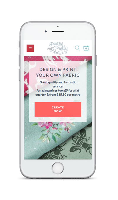 mobile showing Print Me Pretty ecommerce website with customised products