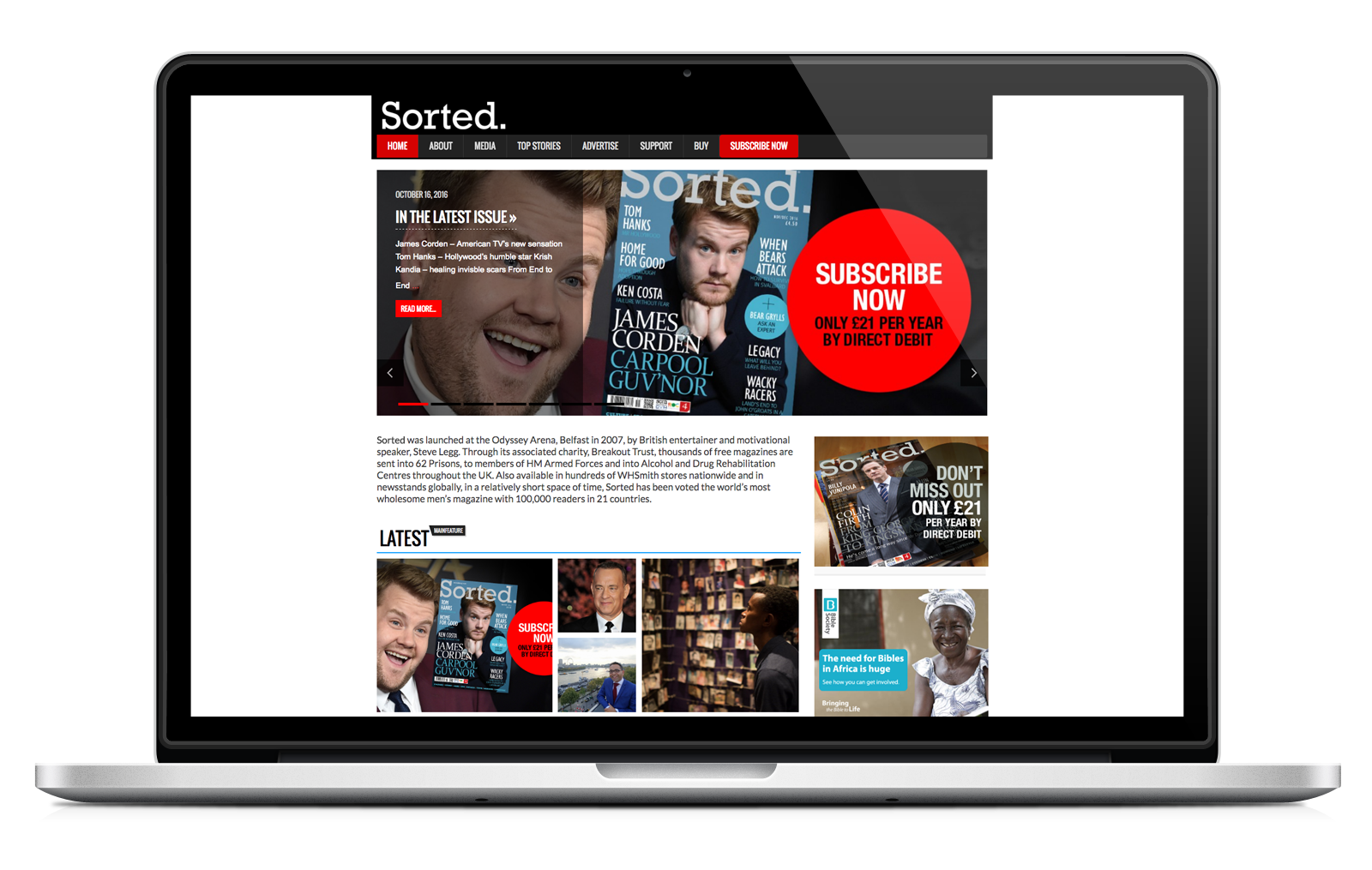 laptop showing Sorted Magazine ecommerce website built with iPages ecommerce CMS