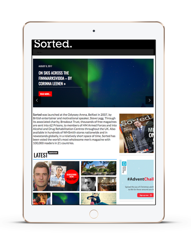 tablet showing Sorted Magazine ecommerce website built with iPages ecommerce CMS