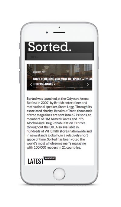 mobile showing Sorted Magazine ecommerce website built with iPages ecommerce CMS