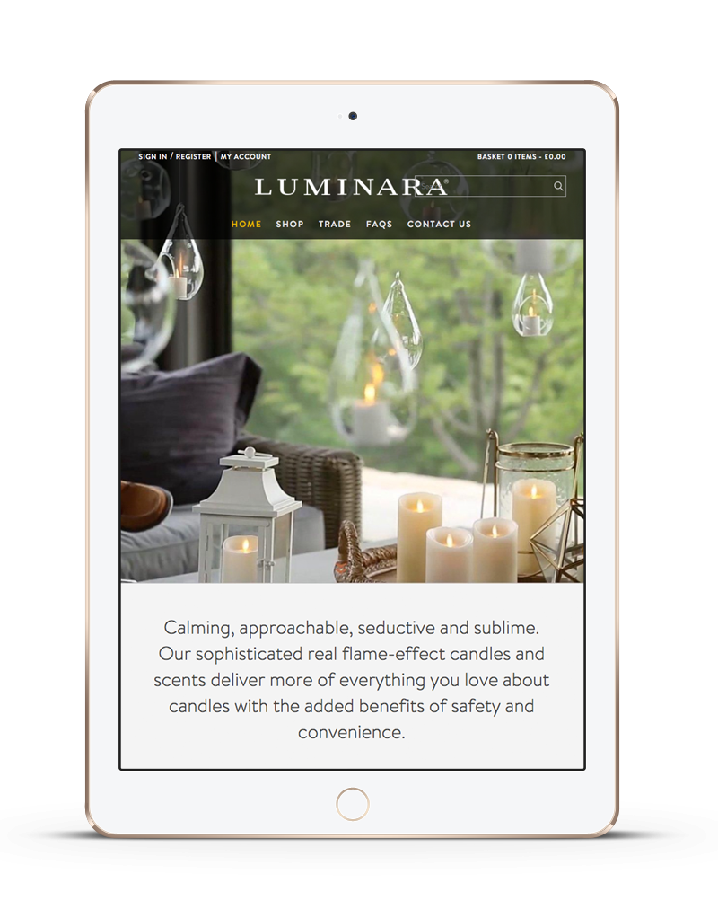 tablet showing Luminara responsive ecommerce website redesign