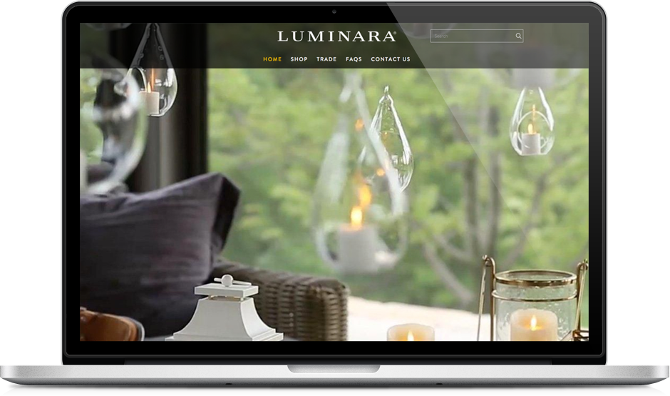 mobile phone showing Luminara responsive ecommerce website redesign