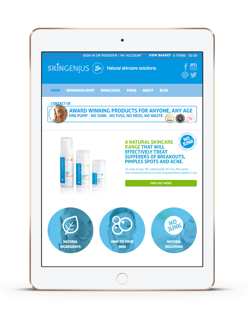 tablet showing Skin Genius ecommerce website built with iPages ecommerce CMS