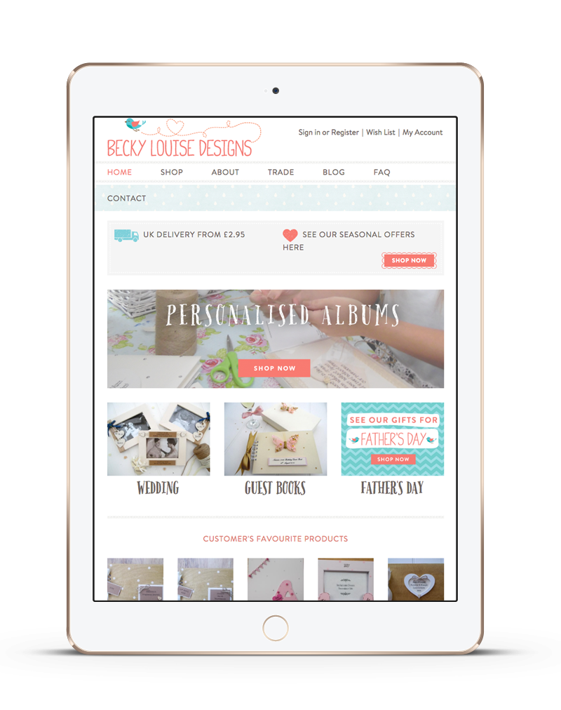tablet showing Becky Louise ecommerce website with customised products