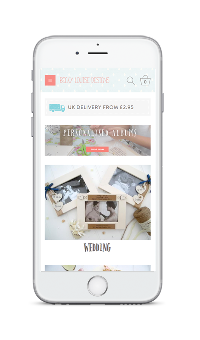mobile showing Becky Louise ecommerce website with customised products