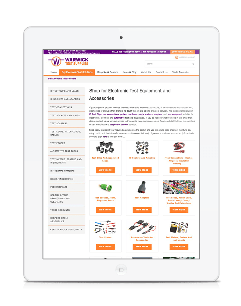 ipad showing Warwick Test Supplies ecommerce website responsive redesign with stock control