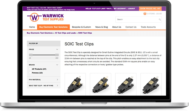 laptop showing Warwick Test Supplies ecommerce website responsive redesign with stock control